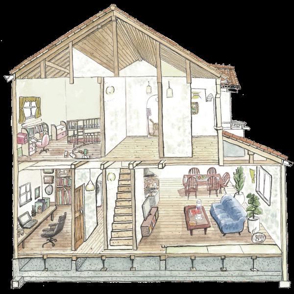 発酵する家の断面イメージ